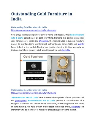 Outstanding Gold Furniture in India