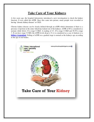 Take Care of Your Kidneys