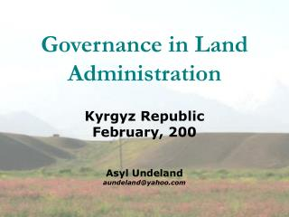 Governance in Land Administration
