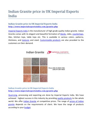 Indian Granite price in UK Imperial Exports India