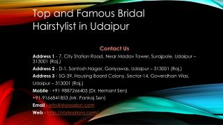 Top and famous bridal hairstylist in udaipur