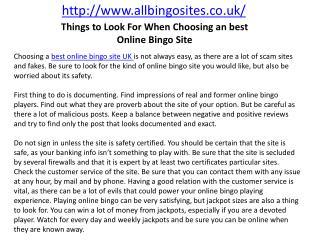 Things to Look For When Choosing an best Online Bingo Site