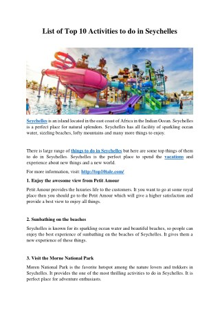 List of Top 10 Activities to do in Seychelles