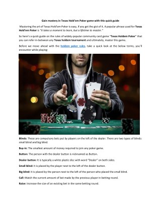 Gain mastery in Texas Hold'em Poker game with this quick guide