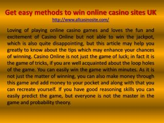 Get easy methods to win online casino sites UK