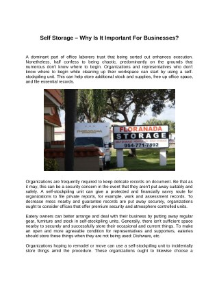 Self Storage – Why Is It Important For Businesses?
