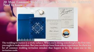 20 Most Common Wedding Invitation Mistakes; You Definitely Need To Know