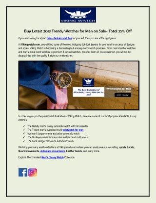 2018 Trendy Mens Fashion Watch on 25 % Sale