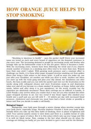 How Orange Juice Helps to Stop Smoking