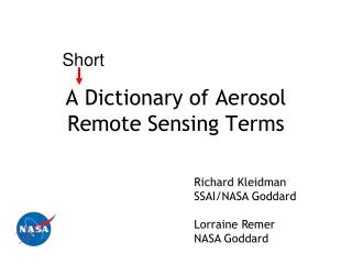 A Dictionary of Aerosol Remote Sensing Terms