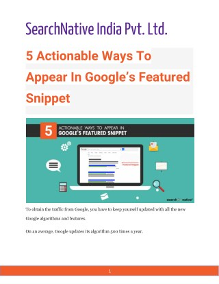 5 Actionable Ways To Appear In Google's Featured Snippet