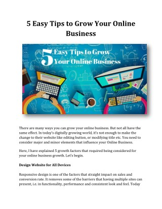 5 Easy Tips to Grow Your Online Business