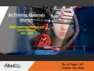 3D Printing Materials Market to witness a sharp growth by 2022