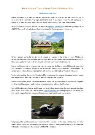 Peru Amazon Tours - Some Essential Information