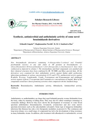 Synthesis, antimicrobial and anthelmintic activity of some novel benzimidazole derivatives