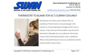 THERMOSTAT TO BLAME FOR AC'S SUBPAR COOLING?