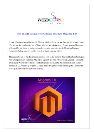 Why Should eCommerce Platforms Switch to Magento 2.0?