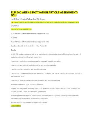 ELM 200 WEEK 5 MOTIVATION ARTICLE ASSIGNMENT-GCU