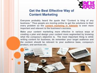 Get the Best Effective Way of Content Marketing