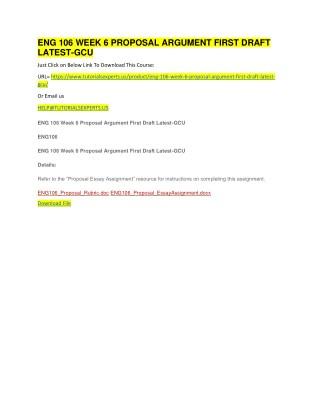 ENG 106 WEEK 6 PROPOSAL ARGUMENT FIRST DRAFT LATEST-GCU