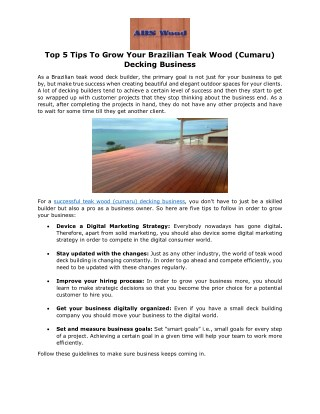 Top 5 Tips To Grow Your Brazilian Teak Wood (Cumaru) Decking Business