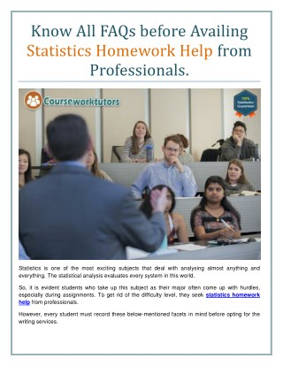 Know All FAQs before Availing Statistics Homework Help from Professionals
