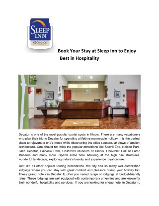 Book Your Stay at Sleep Inn to Enjoy Best in Hospitality.