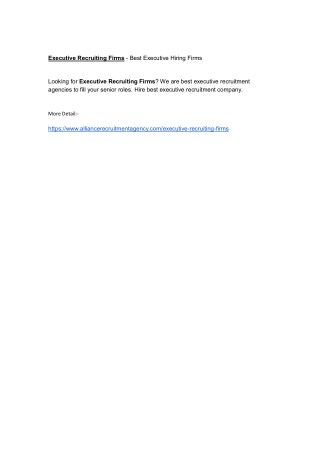 Executive Recruiting Firms - Best Executive Hiring Firms