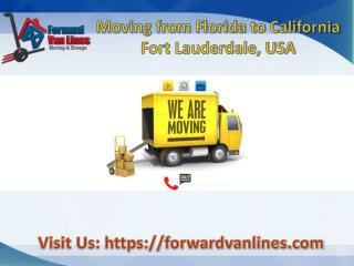 Moving from Florida to California - choose Forward Van Lines