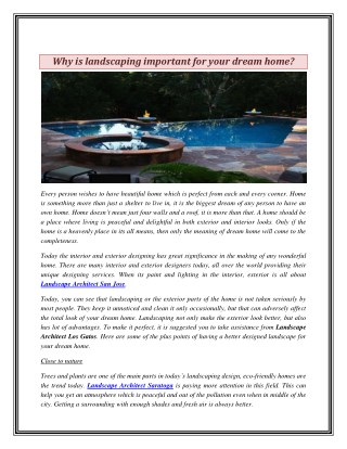 Why is landscaping important for your dream home