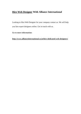 Hire Web Designer With Alliance International