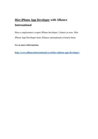 Hire iPhone App Developer with Alliance International