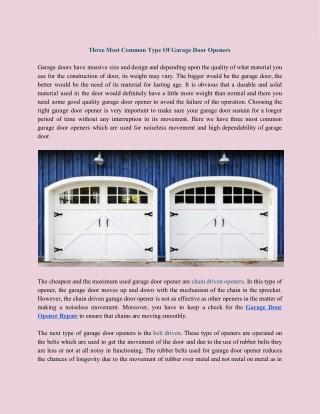 Three Most Common Type Of Garage Door Openers