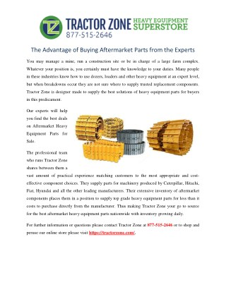 The Advantage of Buying Aftermarket Parts from the Experts