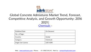 Global Concrete Admixtures Market Trend, Forecast, Competitive Analysis, and Growth Opportunity: 2016 2021 - Aarkstore E