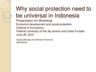 Why social protection need to be universal in Indonesia