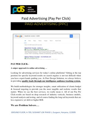 Pay Per Click, PPC Advertising in Gurgaon, Delhi NCR | PDS