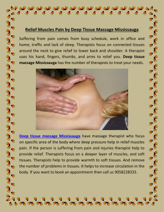 Relief Muscles Pain by Deep Tissue Massage Mississauga