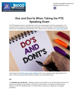 Dos and Don'ts When Taking the PTE Speaking Exam