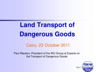 Land Transport of Dangerous Goods