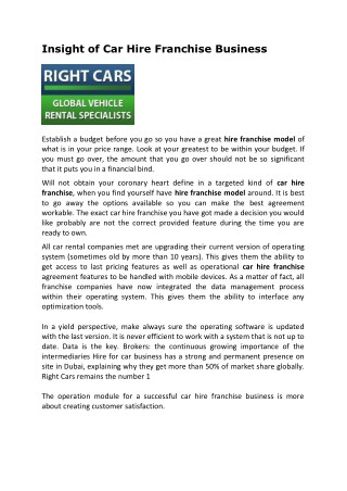 Insight of Car Hire Franchise Business