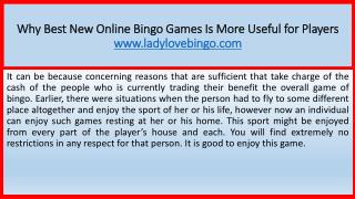 Why Best New Online Bingo Games Is More Useful for Players