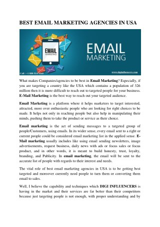 BEST E-MAIL MARKETING AGENCIES IN USA