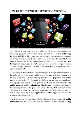 Top Mobile App Developer in USA   Mobile App Design in USA