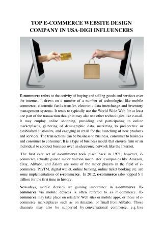 E-commerce website Design Company in USA