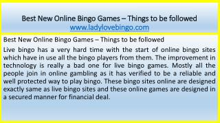 Best New Online Bingo Games – Things to be followed