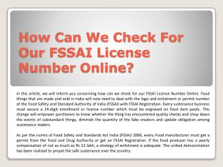 How Can We Check For Our FSSAI License Number Online?