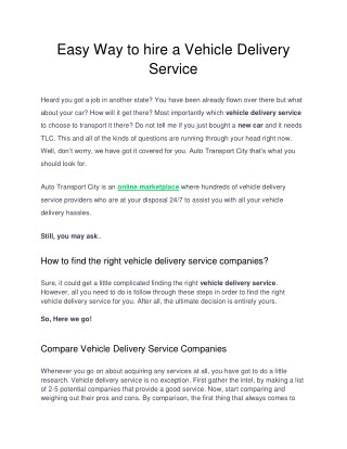 Easy way to hire a vehicle delivery service