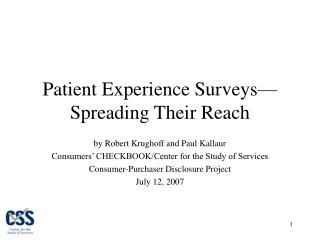Patient Experience Surveys Spreading Their Reach