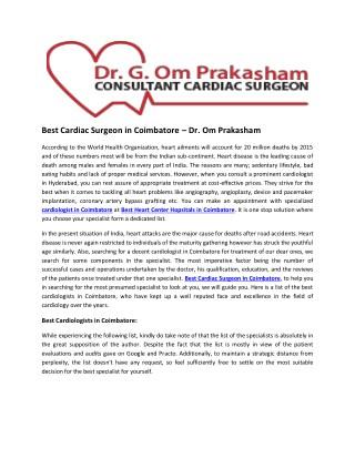 Best Cardiac Surgeon in Coimbatore – Dr. Om Prakasham